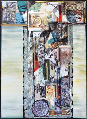 A Stone in the Water, 44 x 60 inches, mixed-media on canvas, 2017, sml